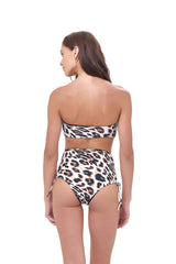 Storm Swimwear - Ravello - Plain Bandeu Bikini Top in Leopard Print