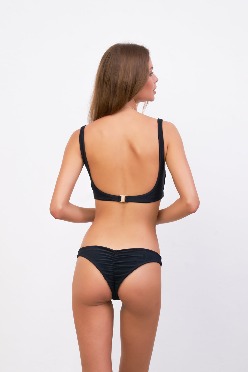 Storm Swimwear - Aruba - Centre Back Ruche Bikini Bottom in Raven Corduroy