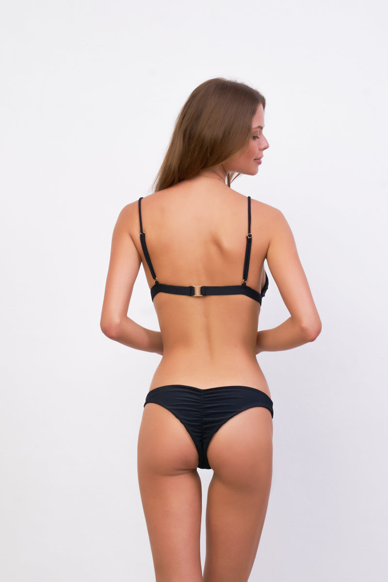 Storm Swimwear - Mallorca - Triangle Bikini Top with removable padding in Raven Corduroy