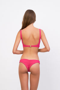 Storm Swimwear - Aruba - Centre Back Ruche Bikini Bottom in Flamingo Corduroy