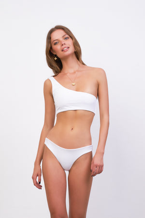 Storm Swimwear - Cinque Terre - One shoulder bikini top in White Corduroy