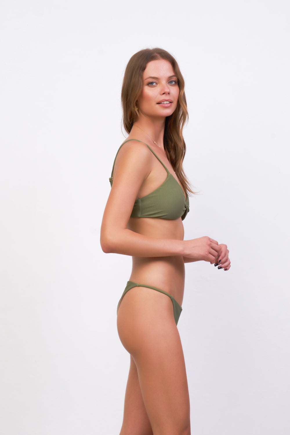 Storm Swimwear - Bora Bora - Twist front padded top in Jungle Corduroy