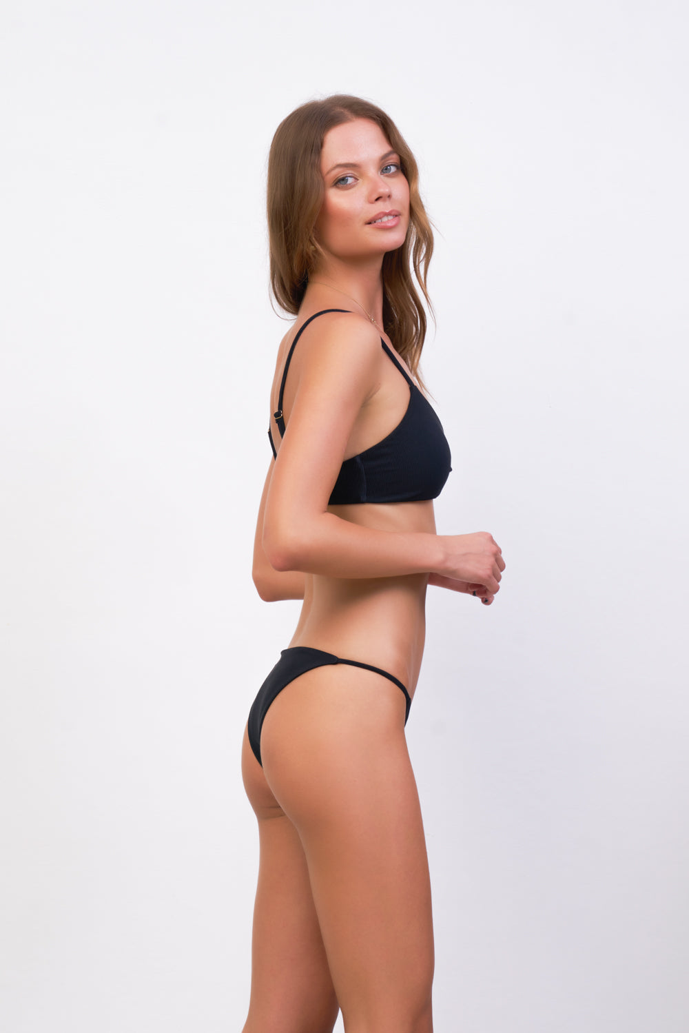 Storm Swimwear - Capri - Tube Single Side Strap Bikini Bottom in Raven Corduroy