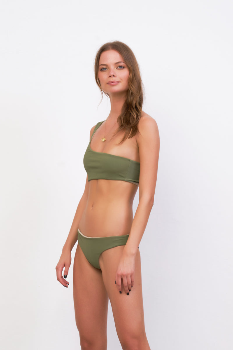 Storm Swimwear - Cinque Terre - One shoulder bikini top in Jungle Corduroy
