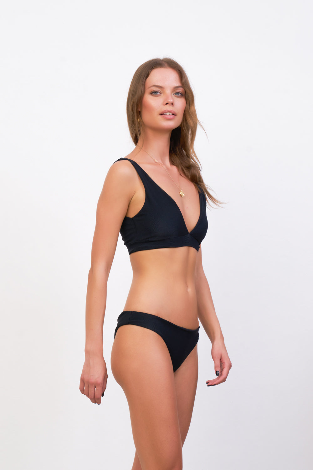 Storm Swimwear - Crete - Coverage top in Raven Corduroy