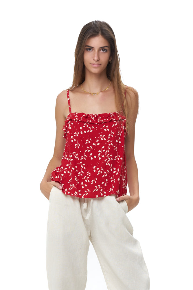 La Confection - Romy Camisole - Top in Gum Nut Leaves Chili