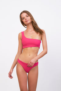 Storm Swimwear - Cinque Terre - One shoulder bikini top in Flamingo Corduroy