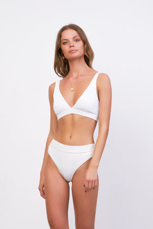 Storm Swimwear - Crete - Coverage top in White Corduroy