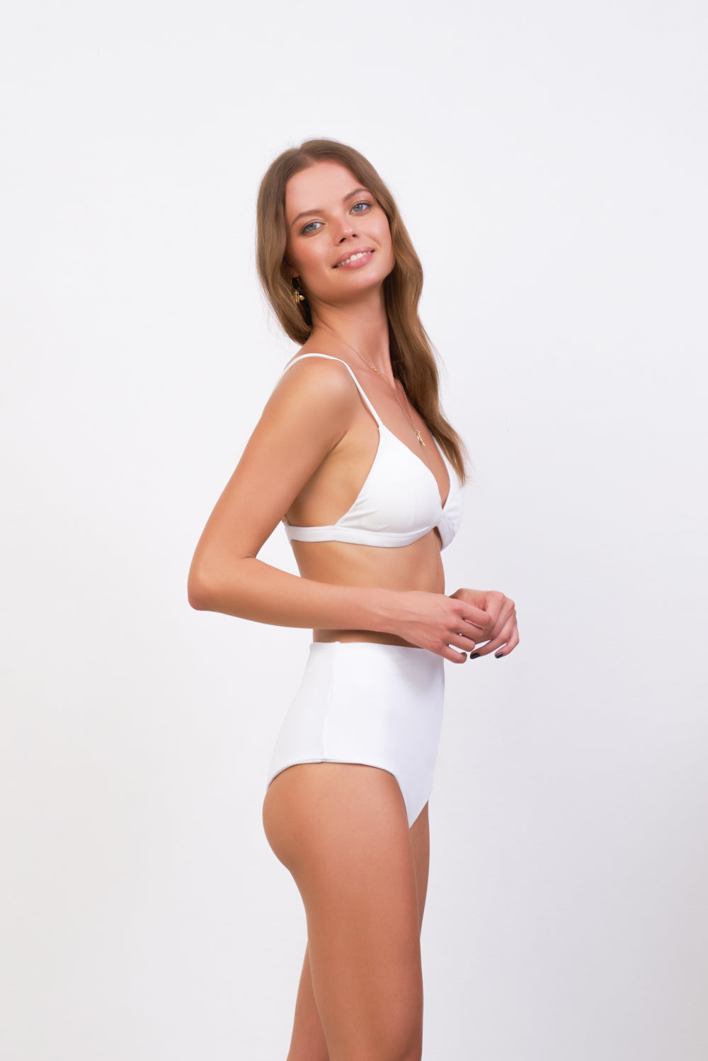 Storm Swimwear - Cannes - High Waist Bikini Bottom in White Corduroy