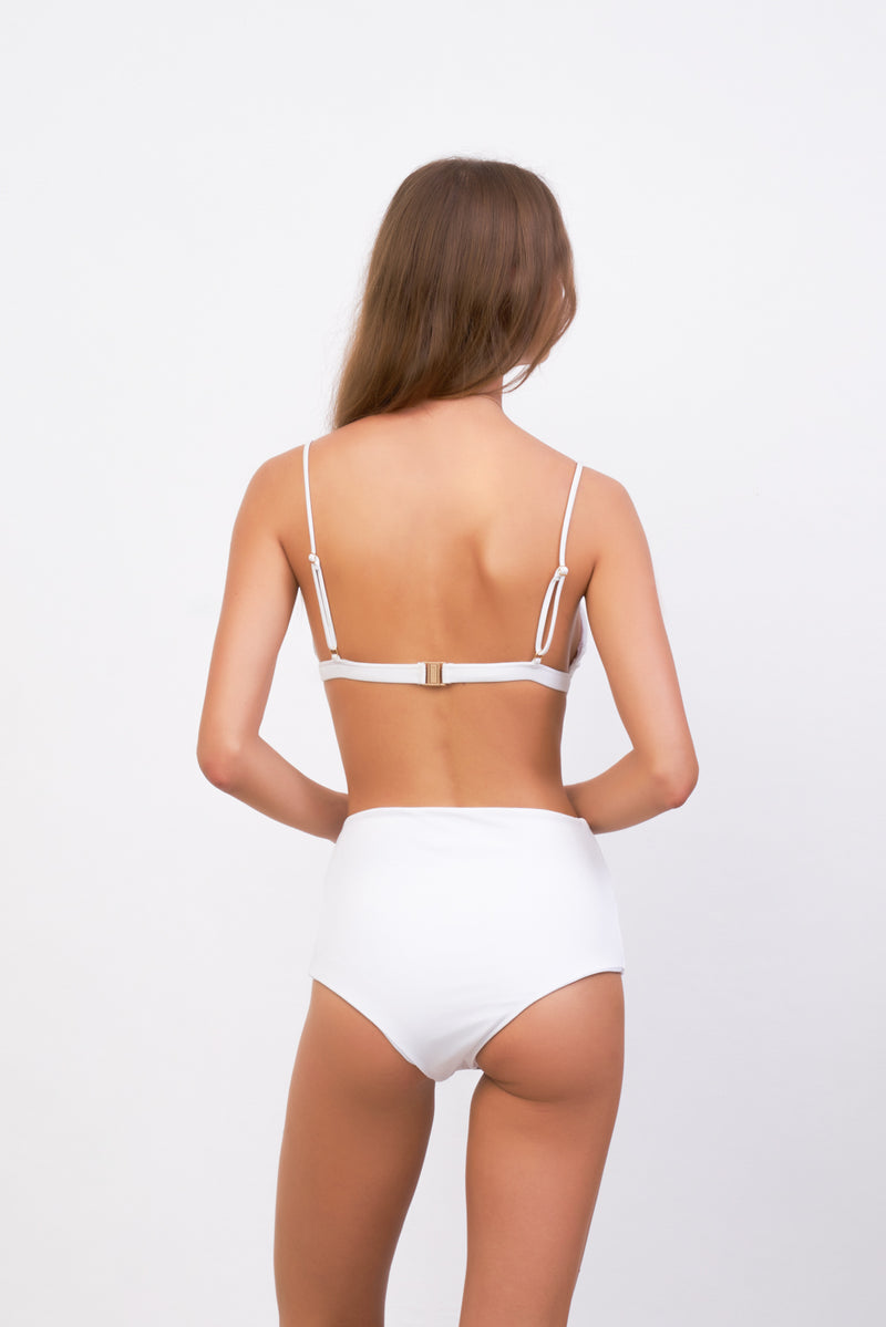 Storm Swimwear - Mallorca - Triangle Bikini Top with removable padding in White Corduroy