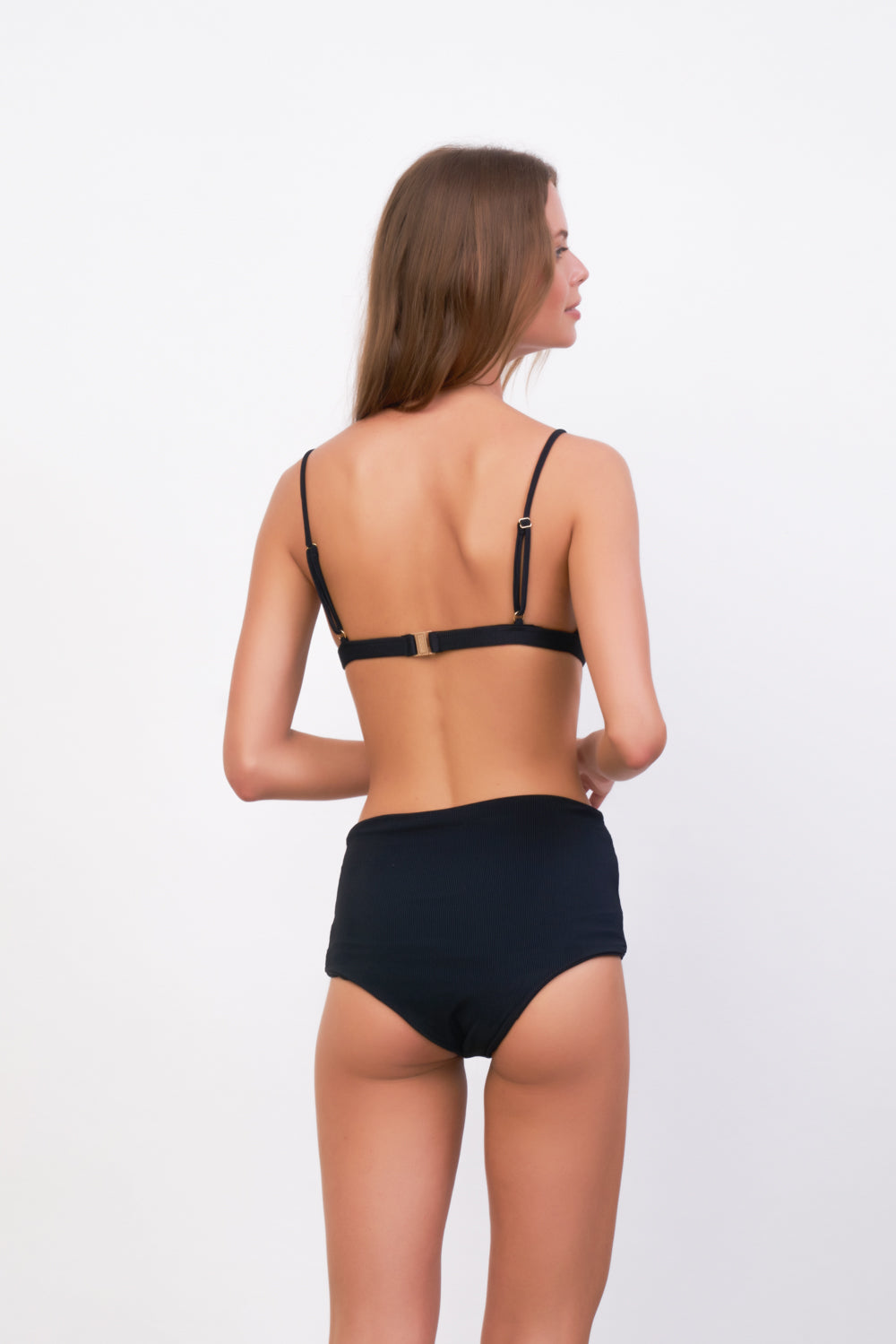 Storm Swimwear - Cannes - High Waist Bikini Bottom in Raven Corduroy
