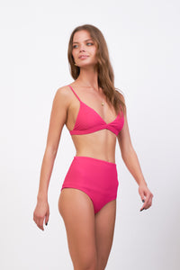 Storm Swimwear - Cannes - High Waist Bikini Bottom in Flamingo Corduroy
