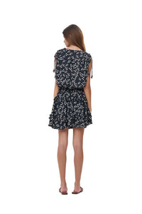La Confection - Avery - Dress with Draw Sleeves Flared Ruffle Skirt in Gum Nut Leaves Black