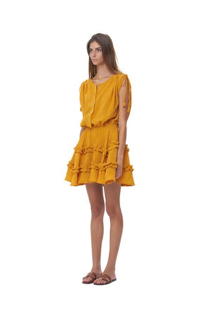 La Confection - Avery - Dress with Draw Sleeves Flared Ruffle Skirt in Plain Citrus