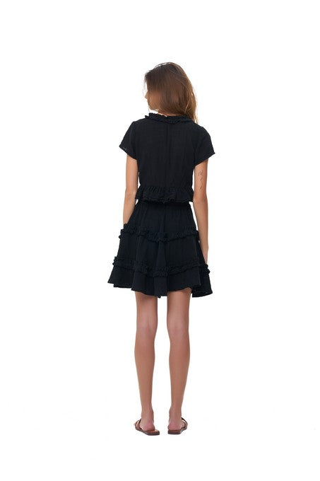 La Confection - Luma - V Neck Short Sleeved Ruffle Crop Top in Black Linen