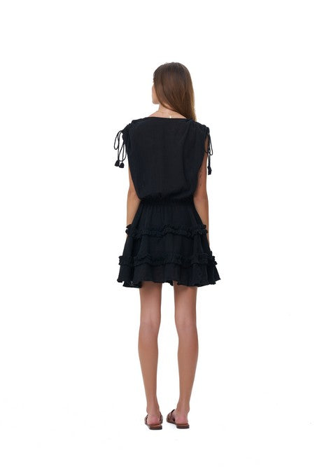La Confection - Avery - Dress with Draw Sleeves Flared Ruffle Skirt in Black Linen