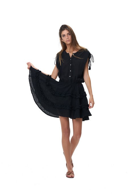 399cf351676 La Confection - Avery - Dress with Draw Sleeves Flared Ruffle Skirt in  Black Linen – Tropicanaonline
