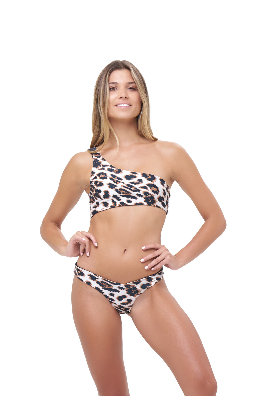 Storm Swimwear - Cinque Terre - One shoulder bikini top in Leopard Print