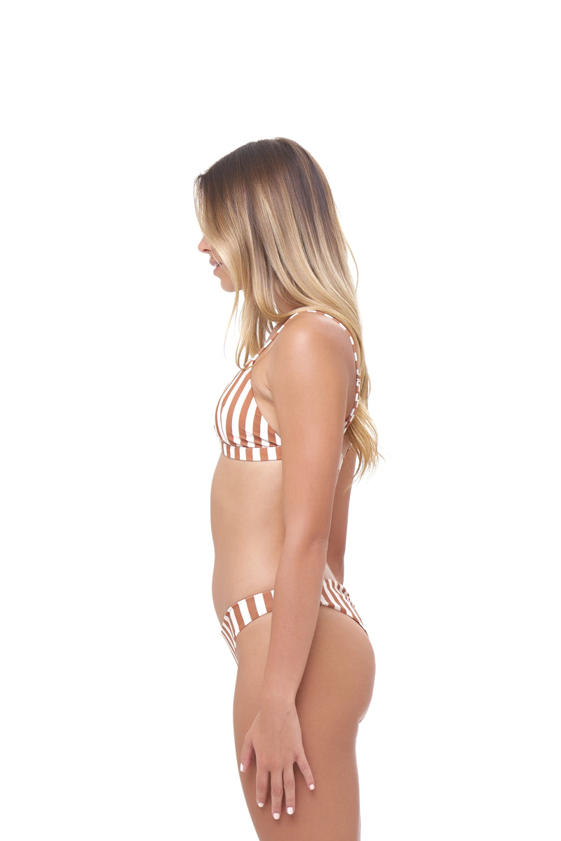 Storm Swimwear - Aruba - Centre Back Ruche Bikini Bottom in Sunburnt Stripe Print