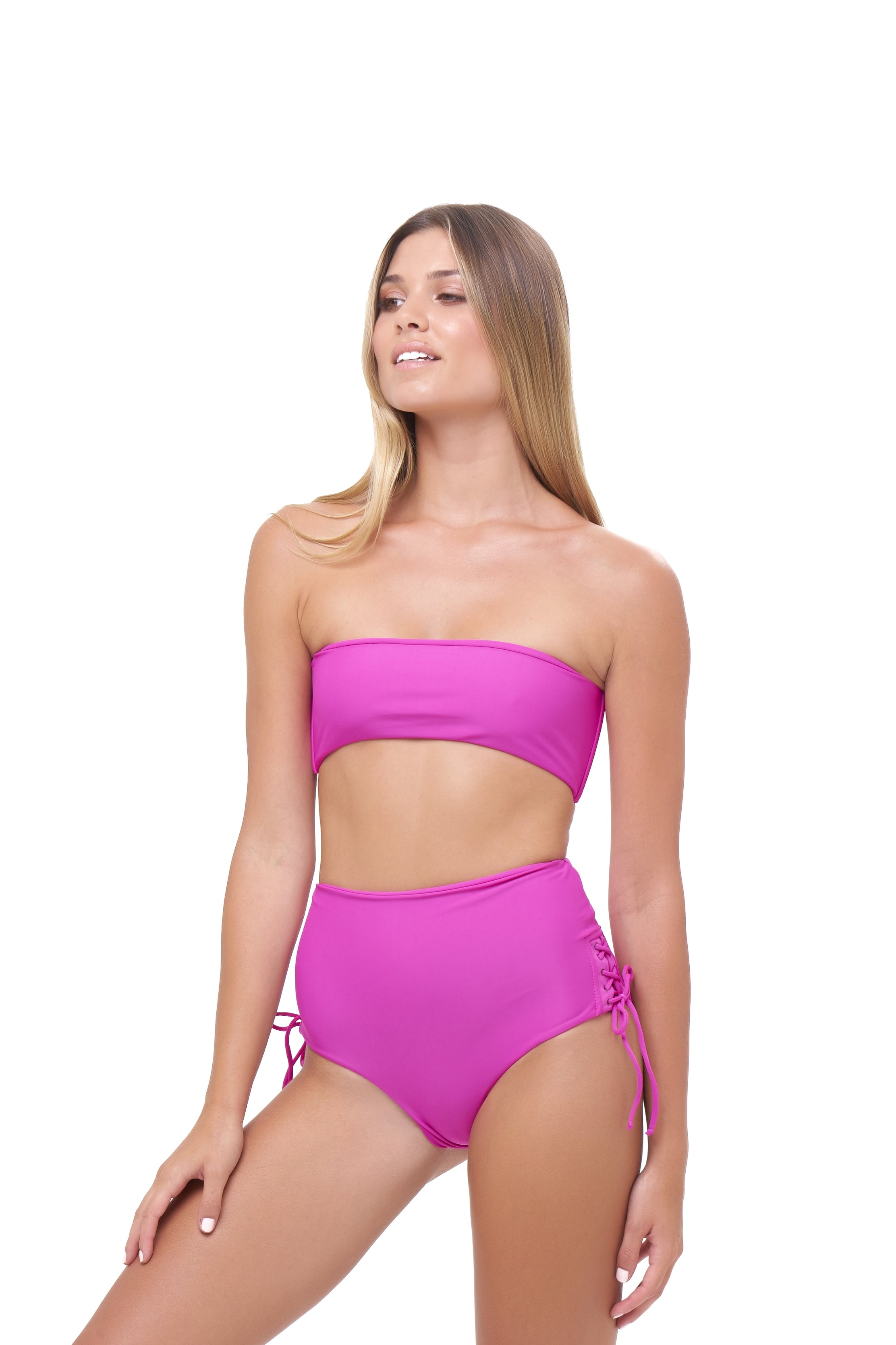 Storm Swimwear - Ravello - Plain Bandeu Bikini Top in Fuchsia