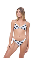 Storm Swimwear - Aruba - Centre Back Ruche Bikini Bottom in Rever Print - Black