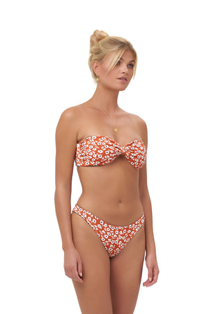 Storm Swimwear - Amalfi - Bandeu centre ruched bikini top in Vintage Flower Red