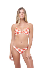 Storm Swimwear - Aruba - Centre Back Ruche Bikini Bottom in Rever Print - Flame Red