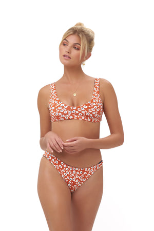 Storm Swimwear - Aruba - Centre Back Ruche Bikini Bottom in Vintage Flower Red Print