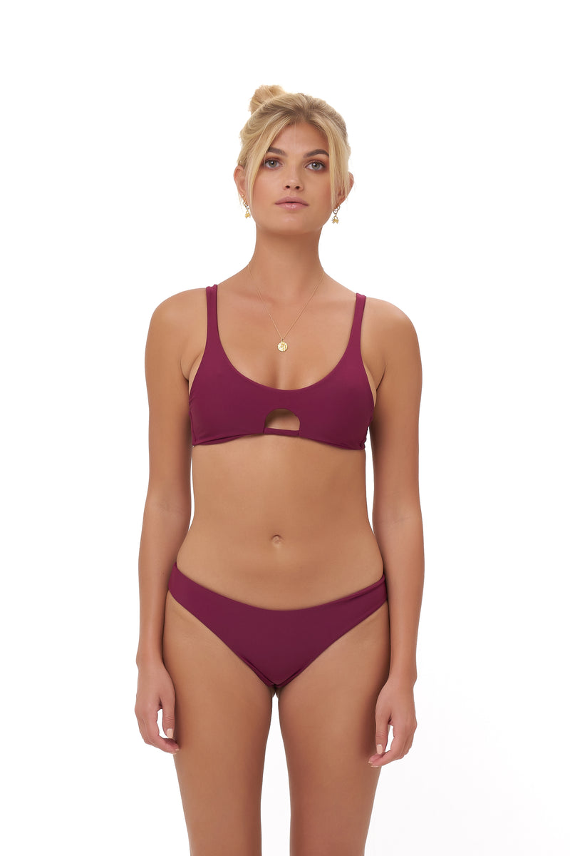 Storm Swimwear - Aruba - Centre Back Ruche Bikini Bottom in Wine