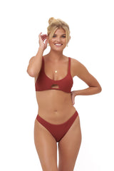Storm swimwear - Aruba - Centre Back Ruche Bikini Bottom in Desert Sand