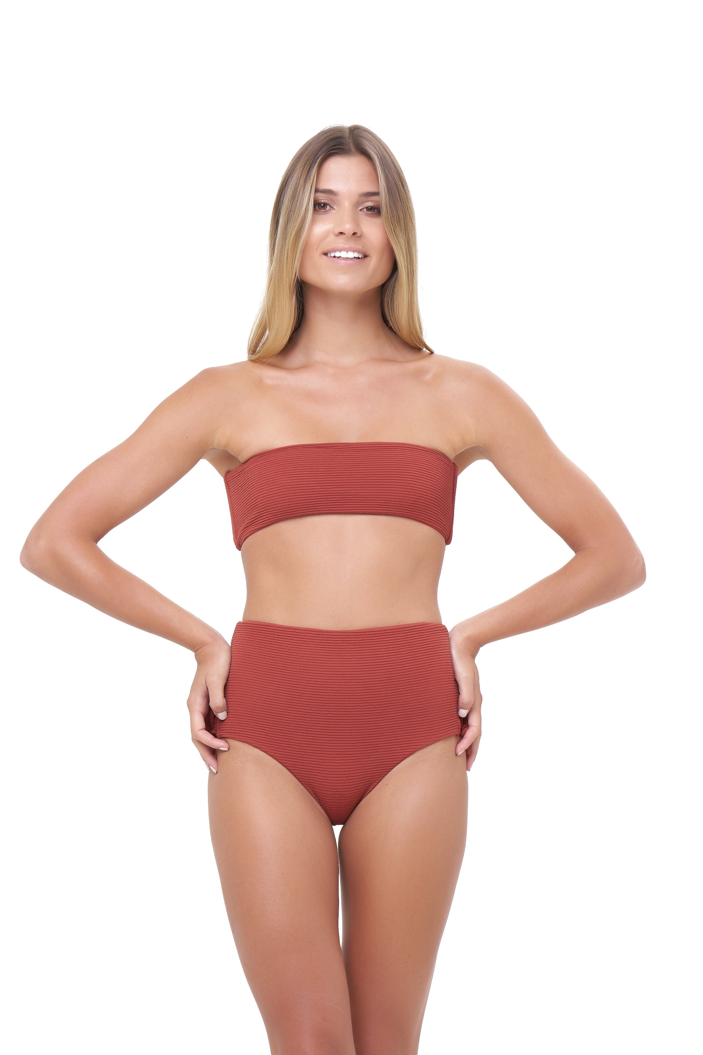 Storm Swimwear - Ravello - Plain Bandeu Bikini Top in Storm Le Nuage Rouille