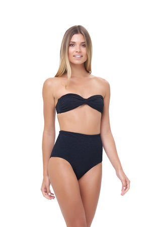 Storm Swimwear - Cannes - High Waist Bikini Bottom in Storm Le Nuage Noir