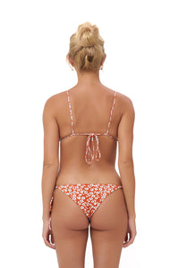 Storm Swimwear - Panama - Tie Back Triangle Bikini Top in Vintage Flower Red