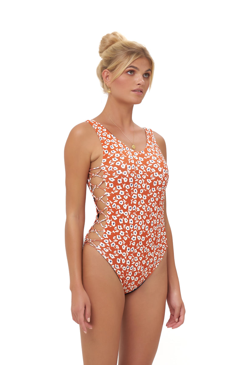 Storm Swimwear - Playa Del Amor - One Piece Swimsuit in Vintage Flower Red Print