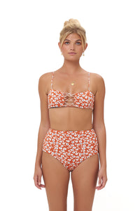 Storm Swimwear - Corfu - Bandeu Bikini Top in Vintage Flower Red Print