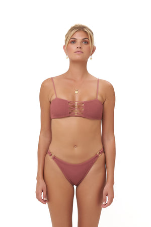 Storm Swimwear - Corfu - Bandeu Elastic Shirring Bikini Top in Canyon Rose