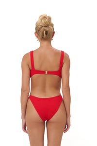 Storm Swimwear - Algarve - Supportive boob with elastic shirring Top in Scarlet