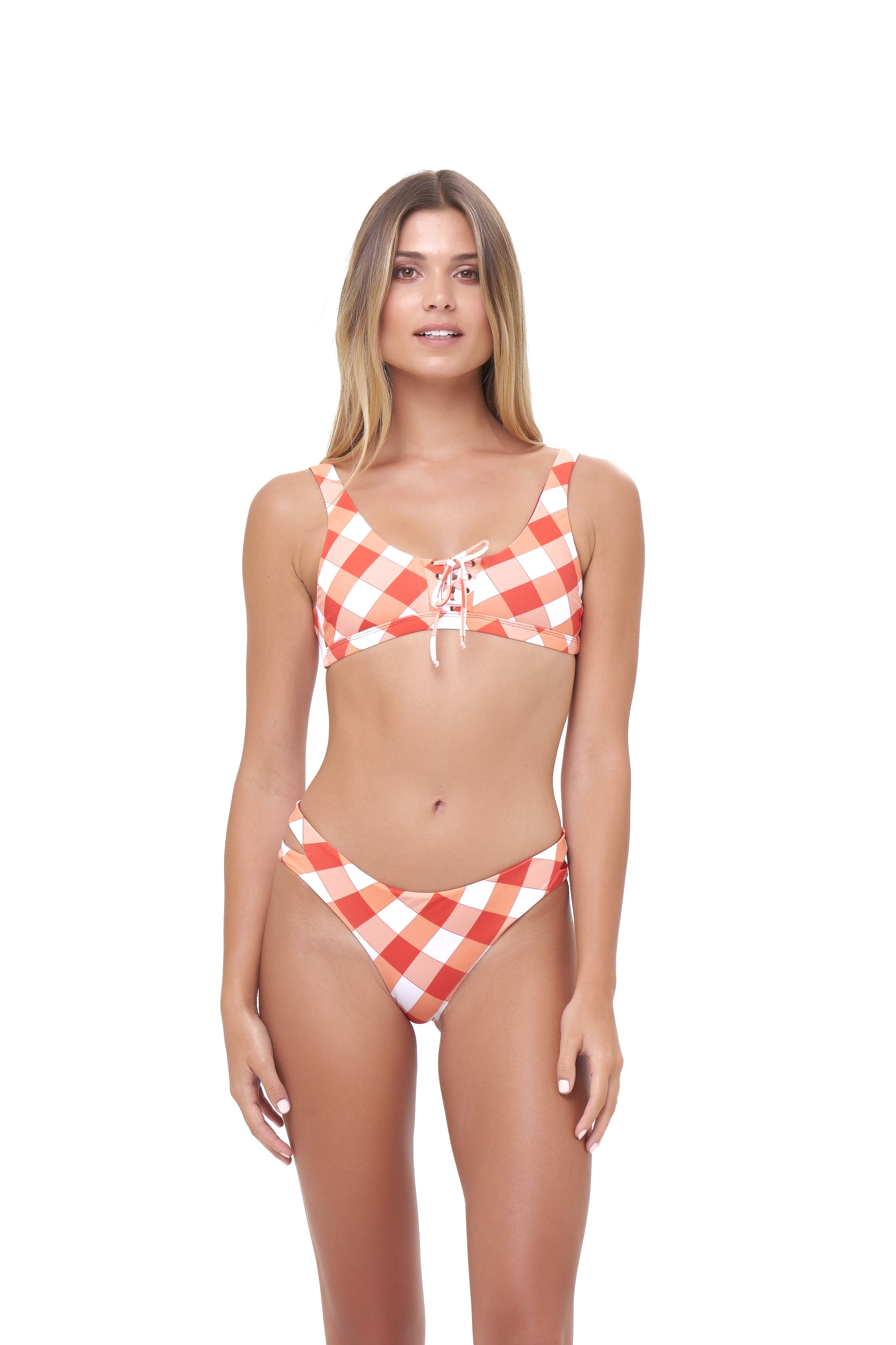 Storm Swimwear - Corsica - Lace Up bikini top in Rever Print - Flame Red