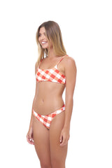 Storm Swimwear - Montauk - Scoop bikini Top in Rever Print - Flame Red