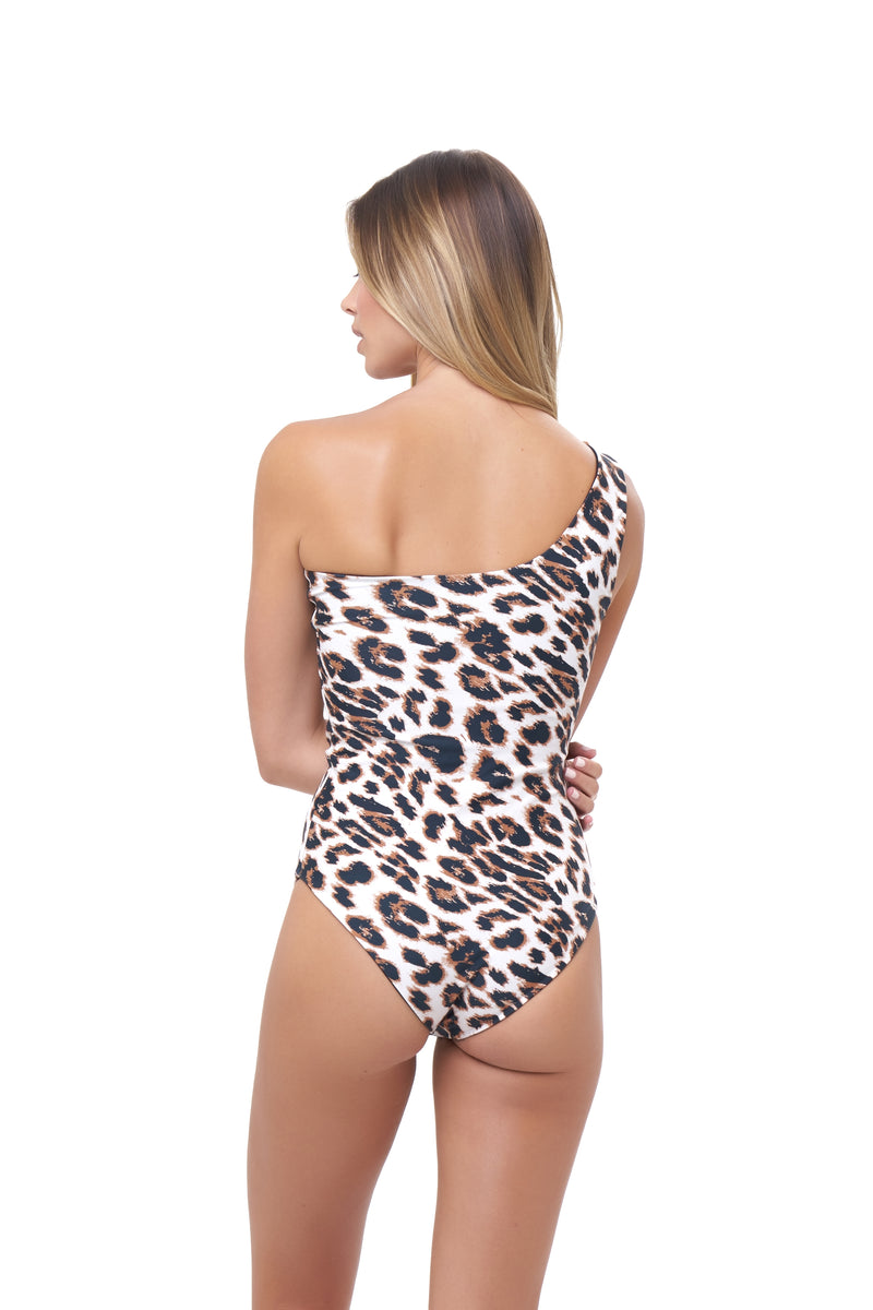 Storm Swimwear - Cinque Terre - One shoulder One Piece in Leopard Print