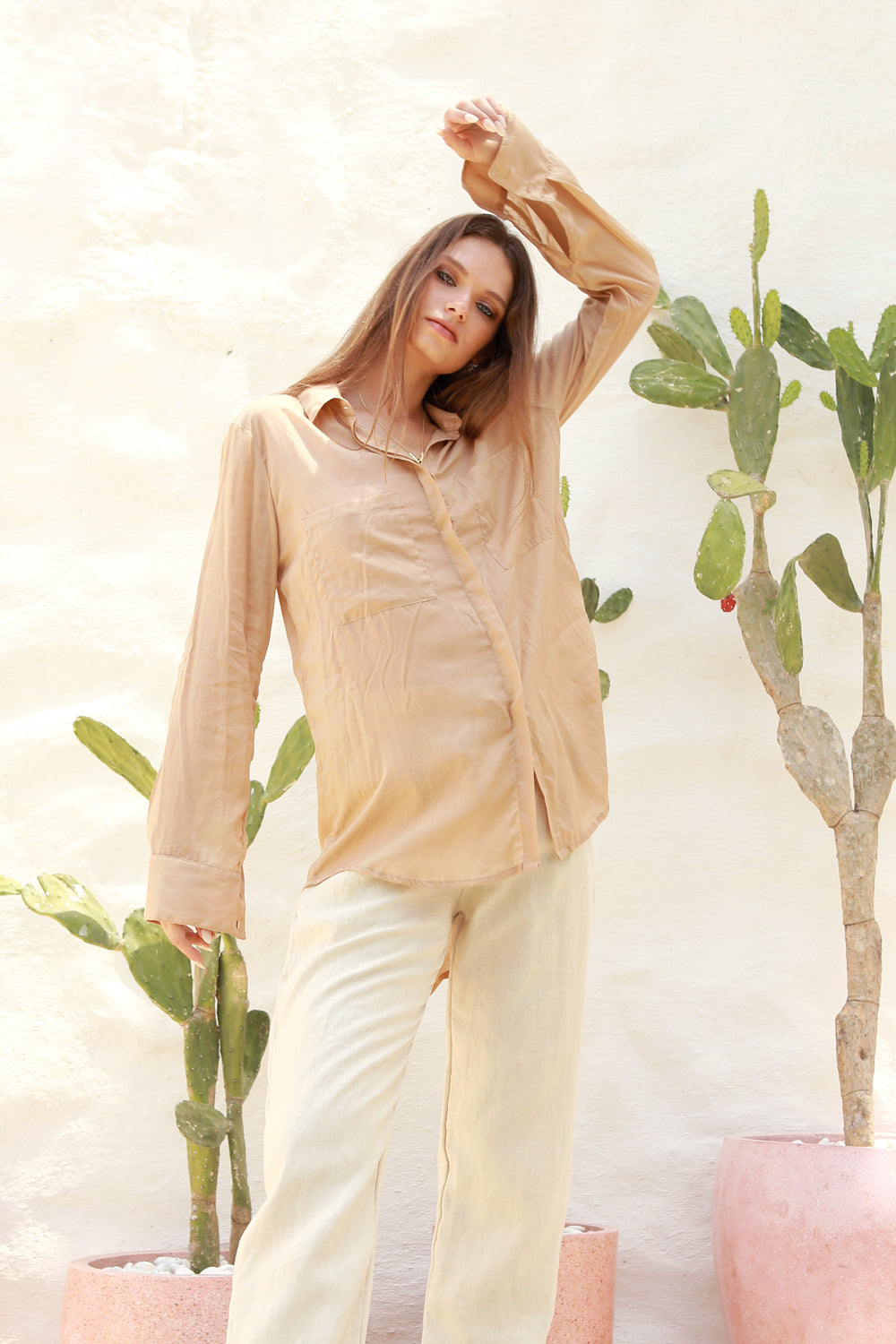 La Confection - The Cruise - Long Sleeve Button Up Shirt in Cappuccino