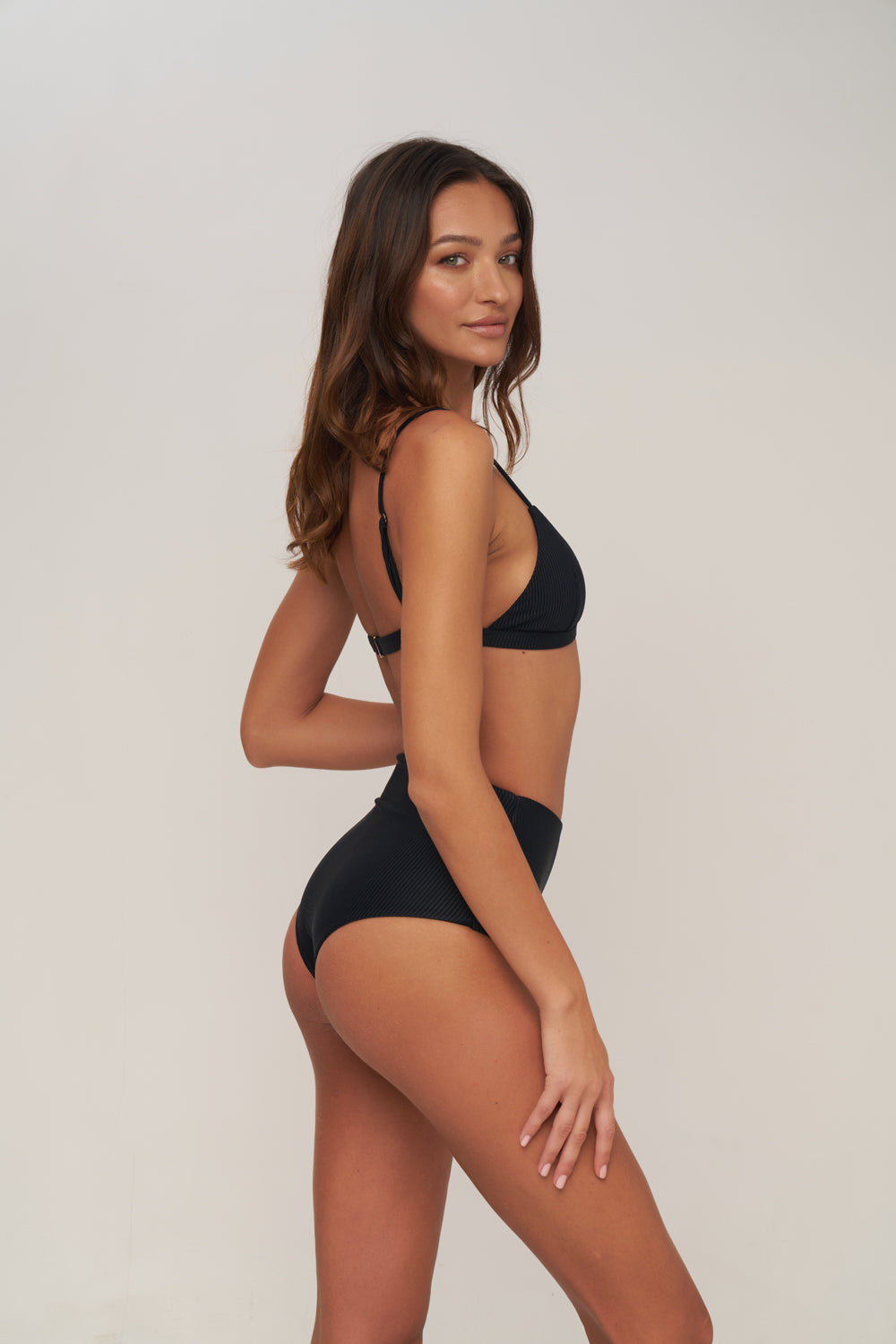 Storm Swimwear - Cannes - High Waist Bikini Bottom in Night Black Rib