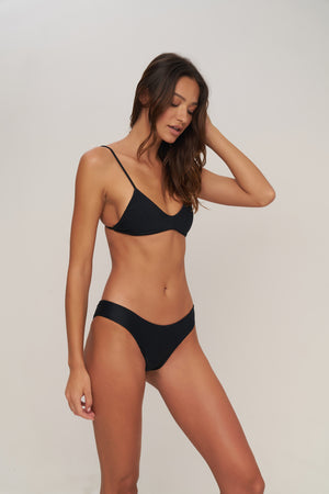 Storm Swimwear - Capri - Scoop Neck Bikini Top in Night Black Rib