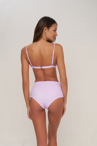 Storm Swimwear - Cannes - High Waist Bikini Bottom in Pastel Purple Rib