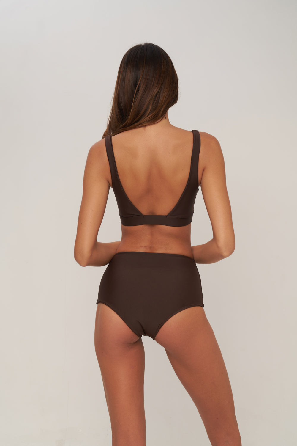 Cannes - High Waist Bikini Bottom in Chocolate