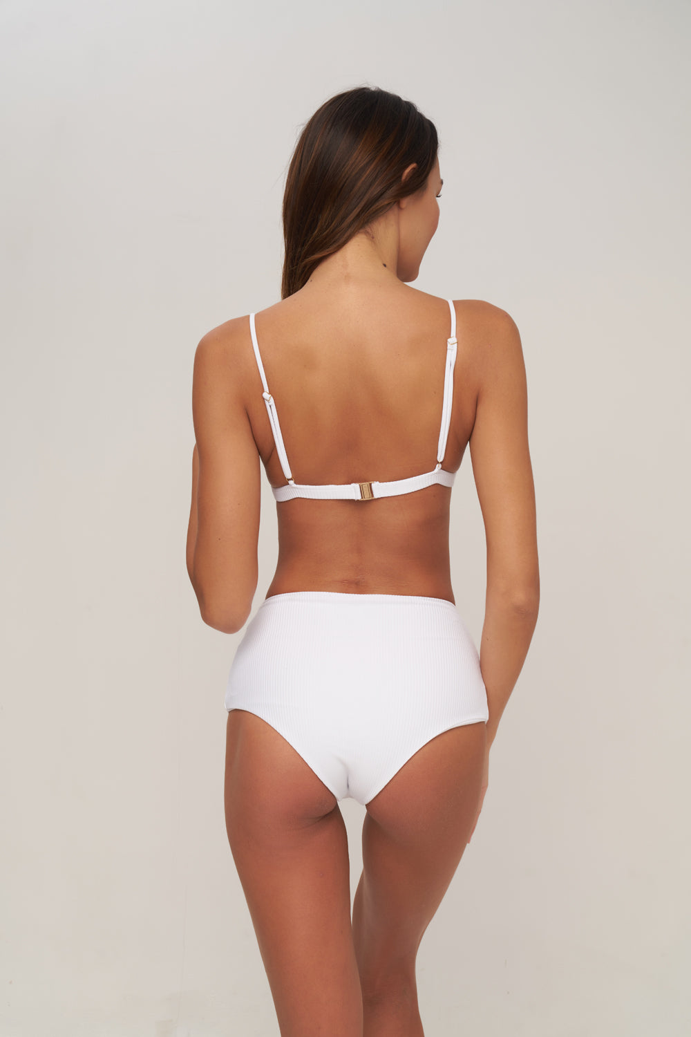 Storm Swimwear - Cannes - High Waist Bikini Bottom in Milk white rib