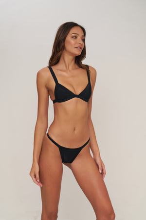 Storm Swimwear - San Sebastian - Bikini Bottom in Night Black Rib