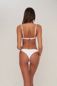 Storm Swimwear - Aruba - Centre Back Ruche Bikini Bottom in Milk white rib