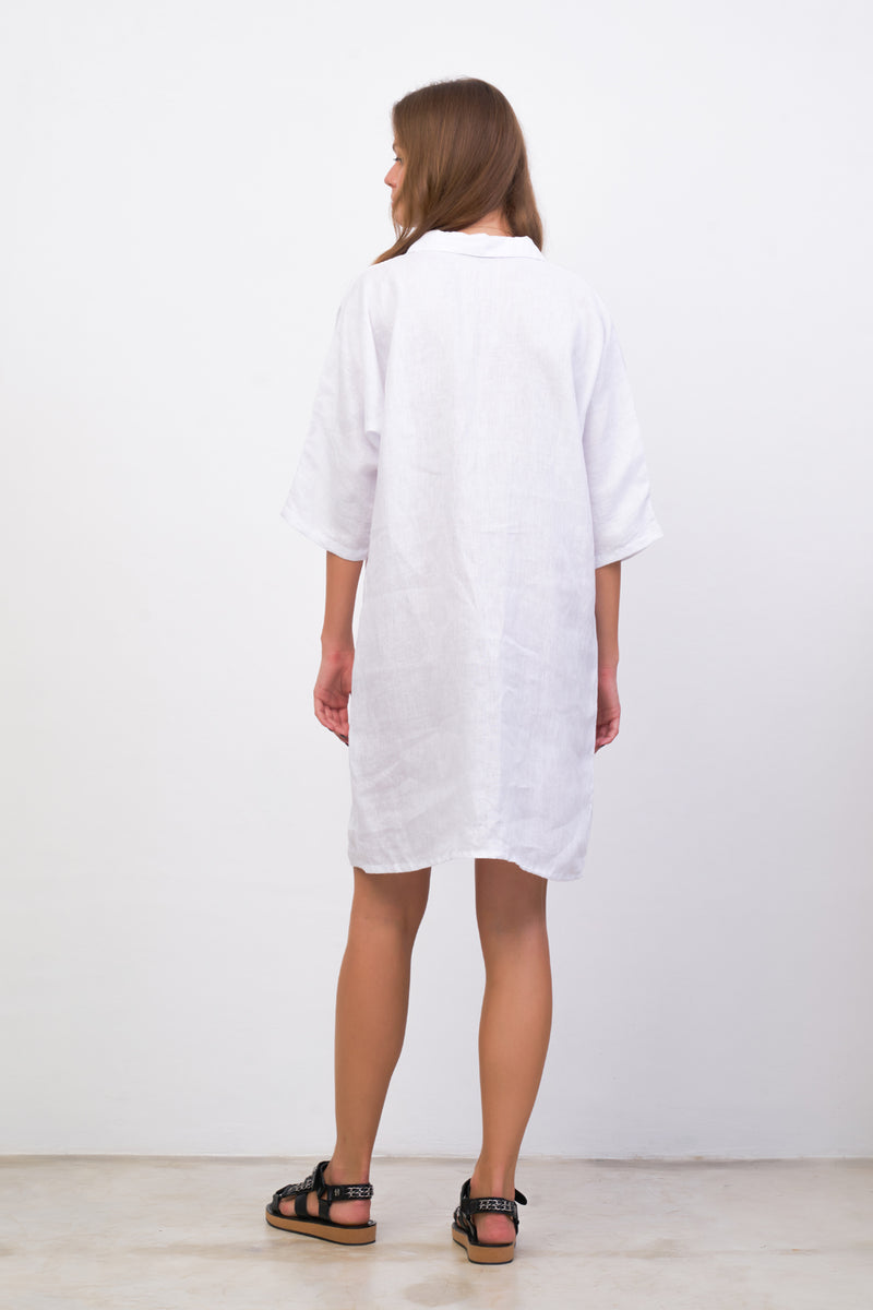 La Confection - Lillie - Dress in White Linen