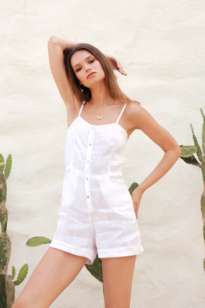 La Confection - Marbella - Linen Spaghettu Strap Button Playsuit in White
